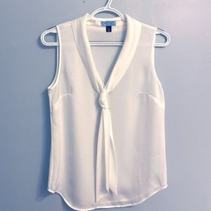 Cynthia Rowley Sleeveless White Blouse with Tie